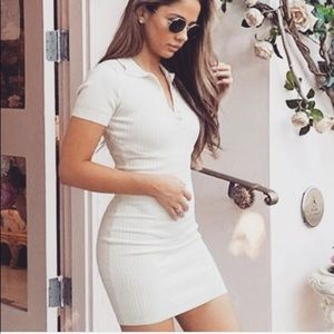 White button up t shirt dress